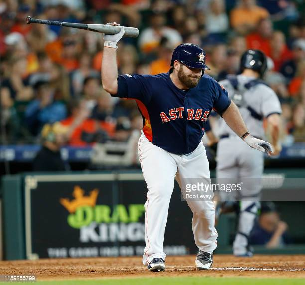 Tyler White of the Houston Astros throws his bat after striking out in the fifth inning against the Seattle Mariners at Minute Maid Park on June 30,...
