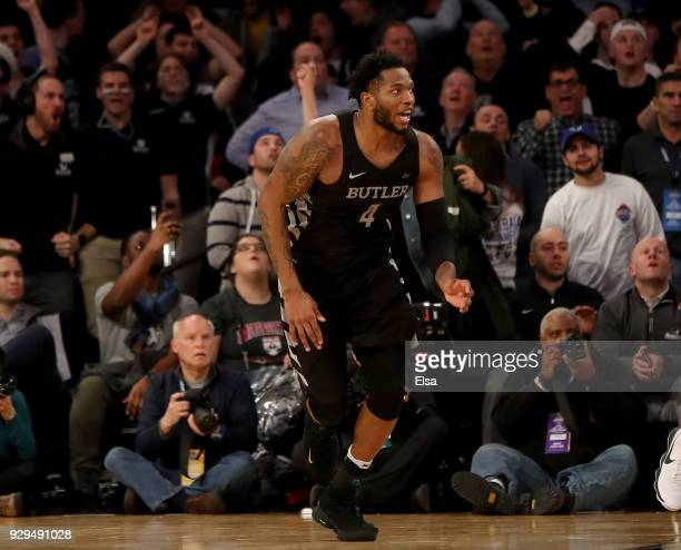 Tyler Wideman of the Butler Bulldogs celebrates his game winning shot in the final minutes of the game against the Seton Hall Pirates during...