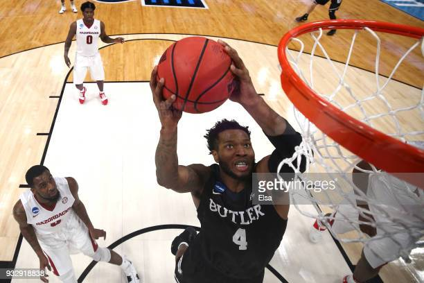 Tyler Wideman of the Butler Bulldogs dunks the ball against the Arkansas Razorbacks during the second half of the game in the first round of the 2018...