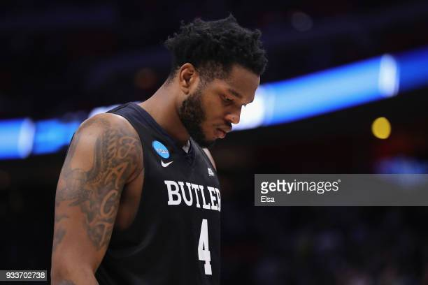 Tyler Wideman of the Butler Bulldogs walks off the court after being defeated by the Purdue Boilermakers 7673 in the second round of the 2018 NCAA...