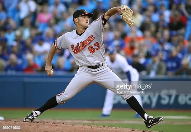 Tyler Wilson of the Baltimore Orioles delivers a pitch in the first inning during MLB game action against the Toronto Blue Jays on June 9, 2016 at...