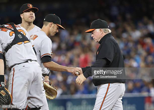 Tyler Wilson of the Baltimore Orioles hands the ball to manager Buck Showalter as he is relieved in the sixth inning during MLB game action against...