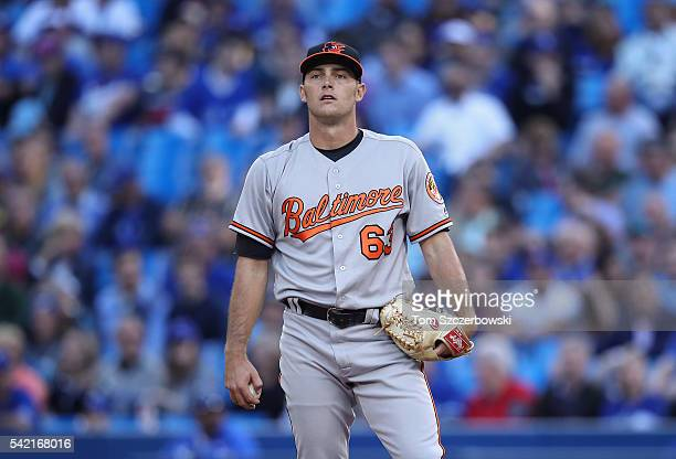 Tyler Wilson of the Baltimore Orioles looks on in the first inning during MLB game action against the Toronto Blue Jays on June 9, 2016 at Rogers...