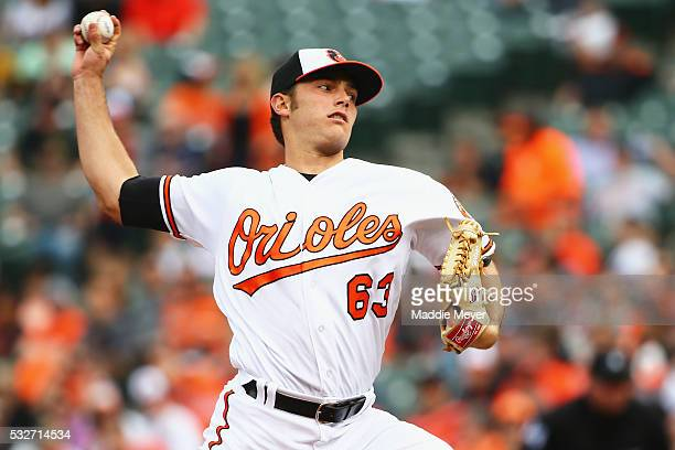Tyler Wilson of the Baltimore Orioles pitches against the Seattle Mariners during the third inning on May 19, 2016 in Baltimore, Maryland.