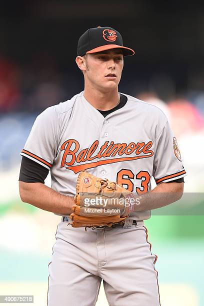 Tyler Wilson of the Baltimore Orioles pitches during a baseball game against the Washington Nationals at Nationals Park on September 24, 2015 in...