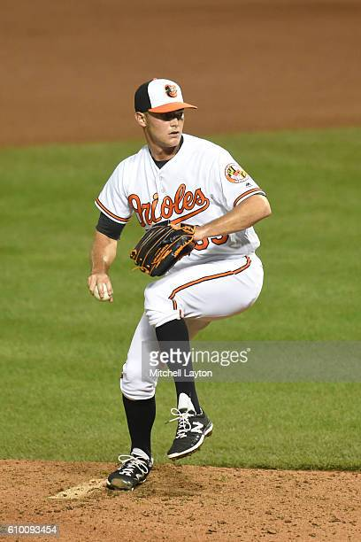 Tyler Wilson of the Baltimore Orioles pitches during a baseball game against the against the Boston Red Sox at Oriole Park at Camden Yards on...