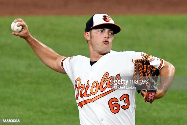 Tyler Wilson of the Baltimore Orioles pitches during a baseball game against the Minnesota Twins at Oriole Park at Camden Yards on May 22, 2017 in...