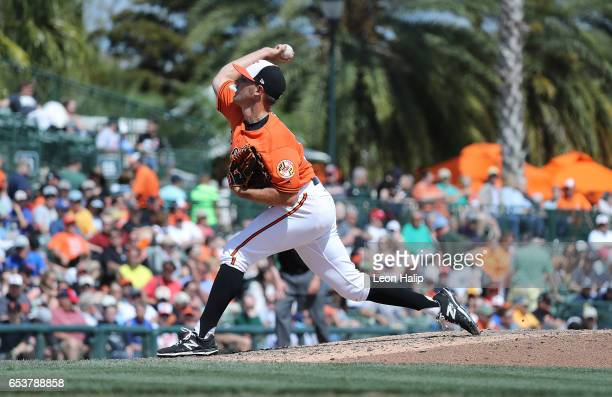 Tyler Wilson of the Baltimore Orioles pitches during the seventh inning of the Spring Training Game on March 14, 2017 at Ed Smith Stadium in...
