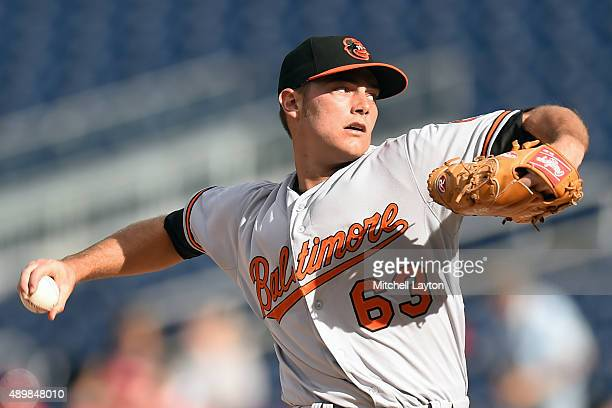 Tyler Wilson of the Baltimore Orioles pitches in the first inning during a baseball game against the Washington Nationals at Nationals Park on...