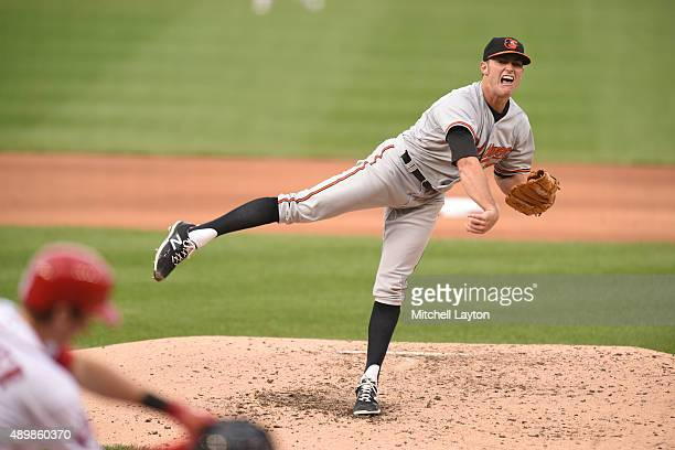 Tyler Wilson of the Baltimore Orioles pitches in the forth inning during a baseball game against the Washington Nationals at Nationals Park on...