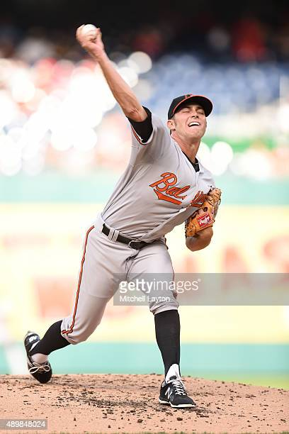 Tyler Wilson of the Baltimore Orioles pitches in the second inning during a baseball game against the Washington Nationals at Nationals Park on...