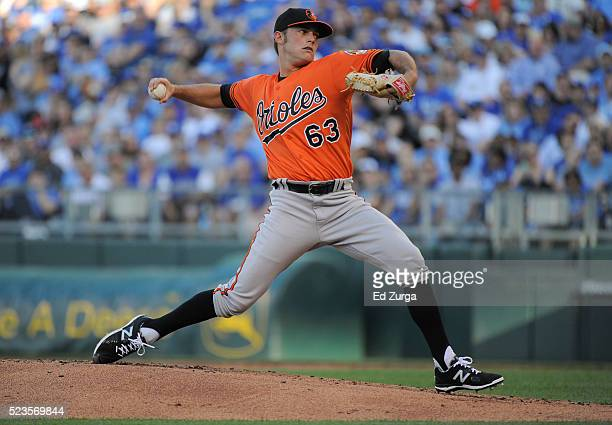 Tyler Wilson of the Baltimore Orioles throws in the first inning against the Kansas City Royals at Kauffman Stadium on April 23, 2016 in Kansas City,...