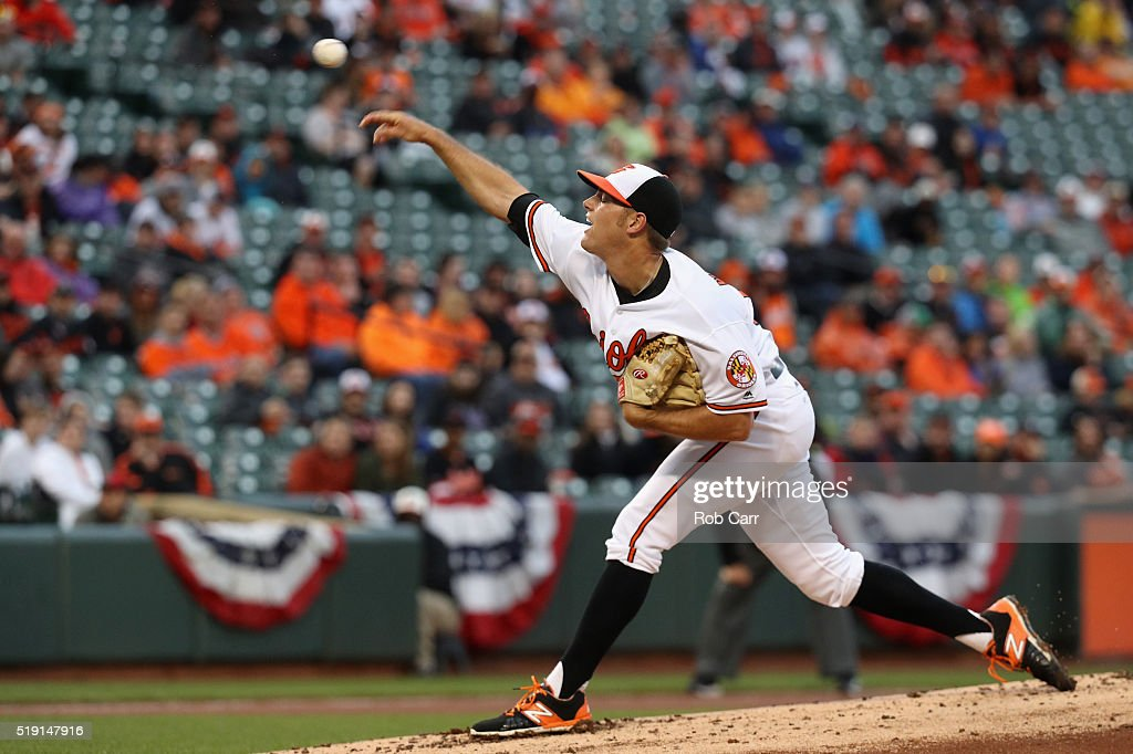 Tyler Wilson #63 of the Baltimore Orioles throws to a Minnesota Twins batter in the fourth inning of their Opening Day game at Oriole Park at Camden Yards on April 4, 2016 in Baltimore, Maryland.