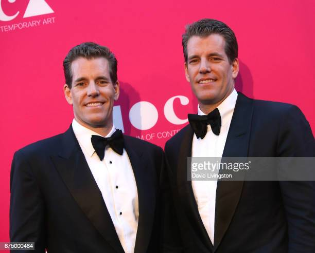 Tyler Winklevoss and Cameron Winklevoss attend the 2017 MOCA Gala at The Geffen Contemporary at MOCA on April 29 2017 in Los Angeles California
