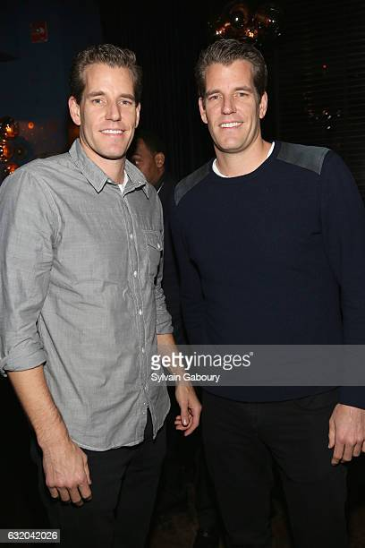 Tyler Winklevoss and Cameron Winklevoss attend The Weinstein Company with Grey Goose Host the After Party for The Founder on January 18 2017 in New...