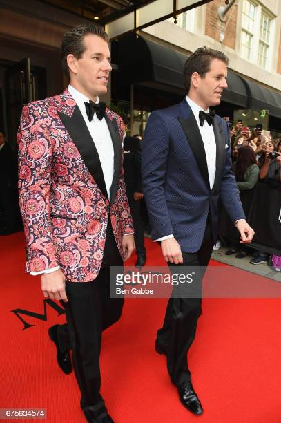 Tyler Winklevoss and Cameron Winklevoss leave from The Mark Hotel for the 2017 'Rei Kawakubo/Comme des Garçons: Art of the In-Between' Met Gala on...