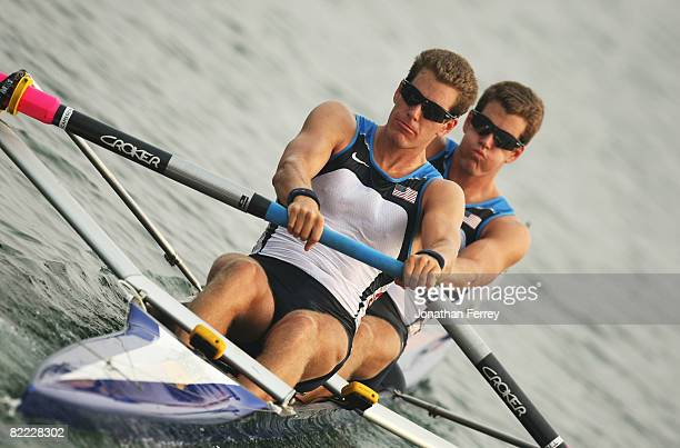 Tyler Winklevoss and Cameron Winklevoss of the USA compete in the Men's Pair Heat 1 at Shunyi Olympic Rowing-Canoeing Park during Day 1 of the...