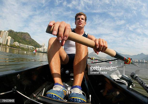 Tyler Winklevoss of the USA men's eight man practices during Day Two of the XV Pan American Games on July 15 2007 at Lagoa Rowing Stadium in Rio de...