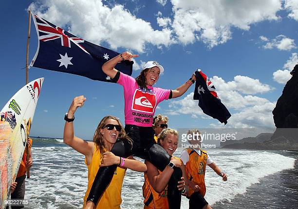Tyler Wright of Australia celebrates after winning gold in the Girls Under 18 division final during the Quiksilver ISA World Junior Surfing...
