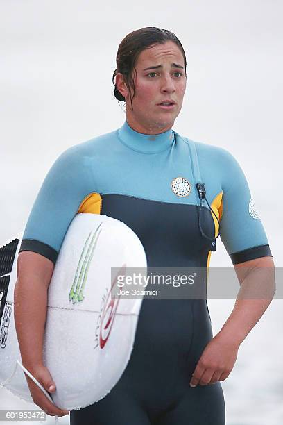 Tyler Wright of Australia exits the water after a free surf at the 2016 Hurley Pro at Trestles at San Onofre State Beach on September 10 2016 in...