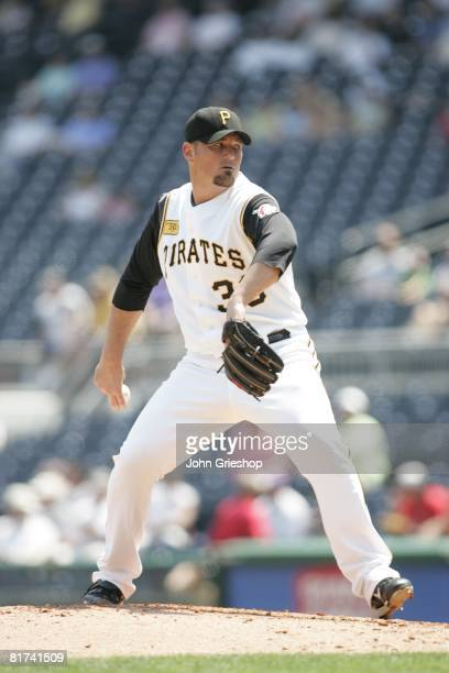 Tyler Yates of the Pittsburgh Pirates pitches during the game against the Arizona Diamondbacks at PNC Park in Pittsburgh Pennsylvania on June 9 2008...