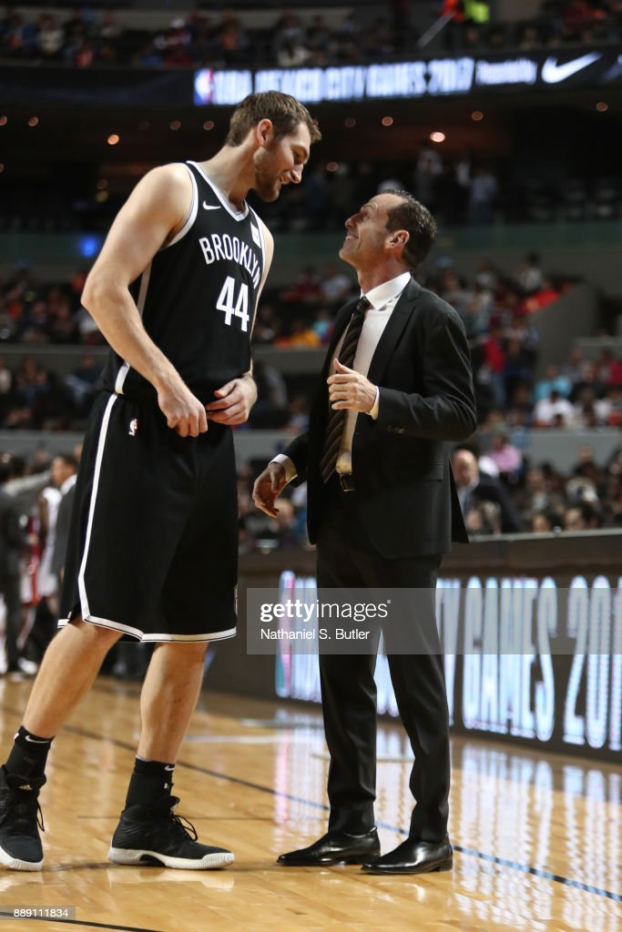 Tyler Zeller #44 and Head Coach Kenny Atkinson of the Brooklyn Nets talk during the game against the Miami Heat as part of the NBA Mexico Games 2017 on December 9, 2017 at the Arena Ciudad de México in Mexico City, Mexico.