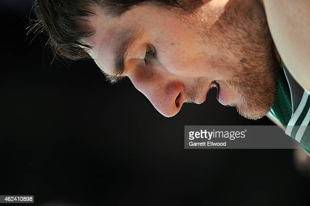 Tyler Zeller of the Boston Celtics during the game against the Denver Nuggets on January 23 2015 at the Pepsi Center in Denver Colorado NOTE TO USER...