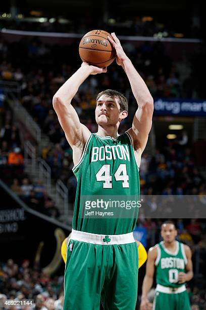 Tyler Zeller of the Boston Celtics shoots a free throw against the Cleveland Cavaliers on April 10 2015 at Quicken Loans Arena in Cleveland Ohio NOTE...
