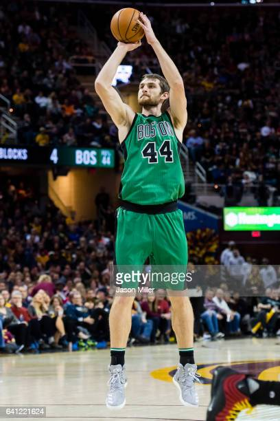 Tyler Zeller of the Boston Celtics shoots during the second half against the Cleveland Cavaliers at Quicken Loans Arena on December 29 2016 in...