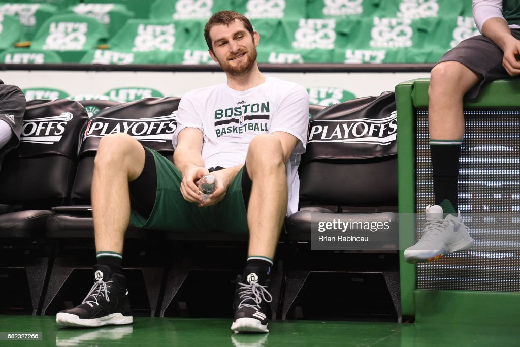 Tyler Zeller #44 of the Boston Celtics smiles on the bench before Game Five of the Eastern Conference Semifinals against the Washington Wizards during the 2017 NBA Playoffs on May 10, 2017 at the TD Garden in Boston, Massachusetts.