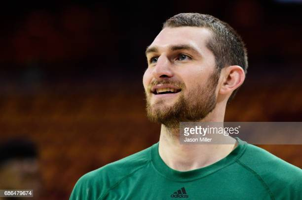 Tyler Zeller of the Boston Celtics warms up prior to Game Three of the 2017 NBA Eastern Conference Finals against the Cleveland Cavaliers at Quicken...