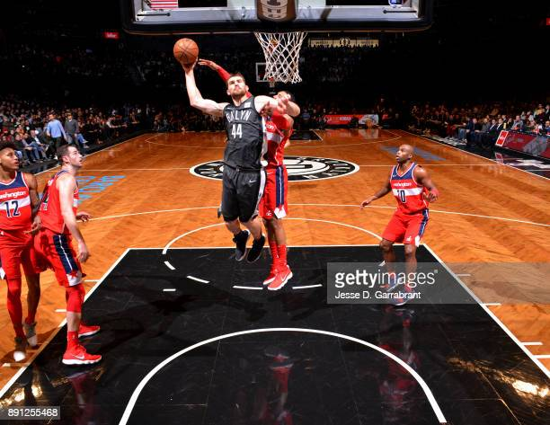 Tyler Zeller of the Brooklyn Nets goes up for the dunk against the Washington Wizards on December 12 2017 at Barclays Center in Brooklyn New York...