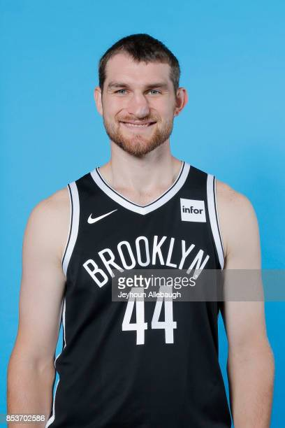 Tyler Zeller of the Brooklyn Nets poses for a head shot during Media Day on September 25 2017 at the HSS Training Center in Brooklyn New York NOTE TO...