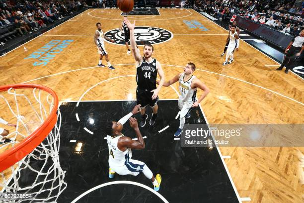 Tyler Zeller of the Brooklyn Nets shoots the ball against the Denver Nuggets on October 29 2017 at Barclays Center in Brooklyn New York NOTE TO USER...