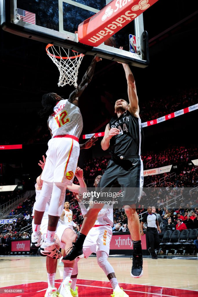 Tyler Zeller #44 of the Brooklyn Nets shoots the ball during the game against the Atlanta Hawks on January 12, 2018 at Philips Arena in Atlanta, Georgia.