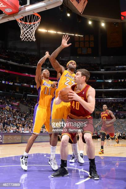 Tyler Zeller of the Cleveland Cavaliers shoots against the Los Angeles Lakers at Staples Center on January 14 2014 in Los Angeles California NOTE TO...