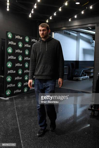 Tyler Zeller of the Milwaukee Bucks arrives to the arena prior to Game Five of Round One of the 2018 NBA Playoffs against the Boston Celtics on April...