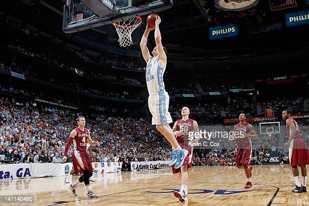Tyler Zeller of the North Carolina Tar Heels dunks in the second half against the Florida State Seminoles during the Final Game of the 2012 ACC Men's...