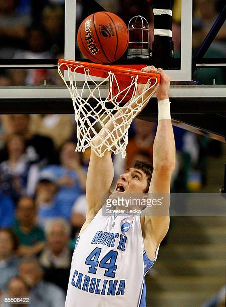 Tyler Zeller of the North Carolina Tar Heels fails to dunk against the Radford Highlanders during the first round of the NCAA Division I Men's...