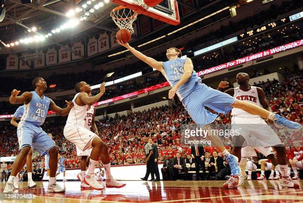 Tyler Zeller of the North Carolina Tar Heels goes to the hoop against the North Carolina State Wolfpack during the first half at the RBC Center on...