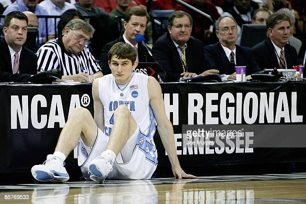 Tyler Zeller of the North Carolina Tar Heels waits to enter the game against the Oklahoma Sooners during the NCAA Men's Basketball Tournament South...