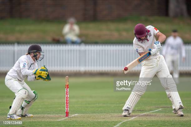 Tym Crawford of the Gordon Cricket Club bats during day one of the NSW Premier Cricket first grade round 3 match between Western Suburbs and Gordon...