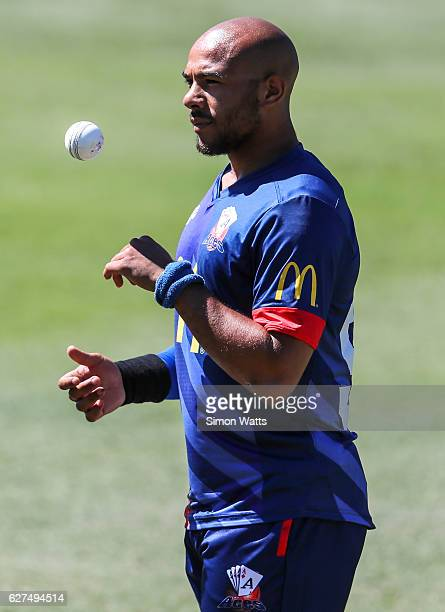 Tymal Mills of Auckland gestures during the McDonalds Super Smash T20 match between the Auckland Aces and Otago Volts at Eden Park on December 4 2016...