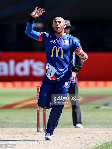 Tymal Mills of Auckland reacts during the McDonalds Super Smash T20 match between the Auckland Aces and Otago Volts at Eden Park on December 4 2016...