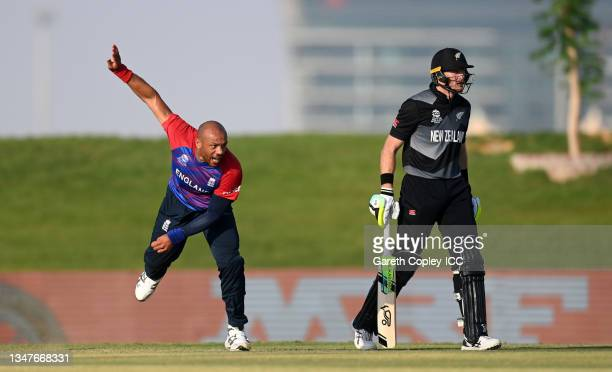 Tymal Mills of England bowls during the England and New Zealand warm Up Match prior to the ICC Men's T20 World Cup at on October 20, 2021 in Abu...