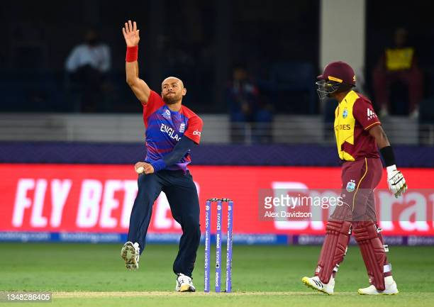 Tymal Mills of England bowls during the ICC Men's T20 World Cup match between England and Windies at Dubai International Stadium on October 23, 2021...