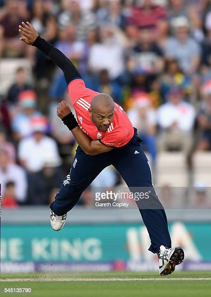 Tymal Mills of England bowls during the Natwest International T20 match between England and Sri Lanka at Ageas Bowl on July 5 2016 in Southampton...