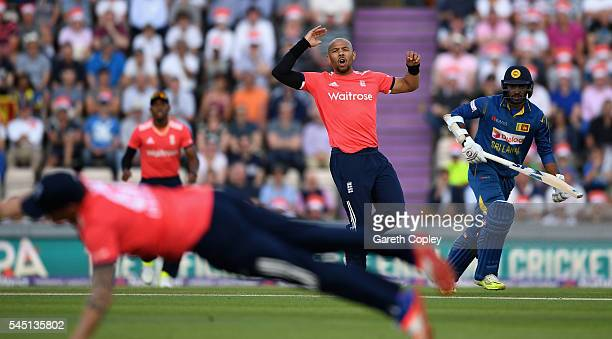 Tymal Mills of England reacts as Jason Roy dives at the ball during the Natwest International T20 match between England and Sri Lanka at Ageas Bowl...