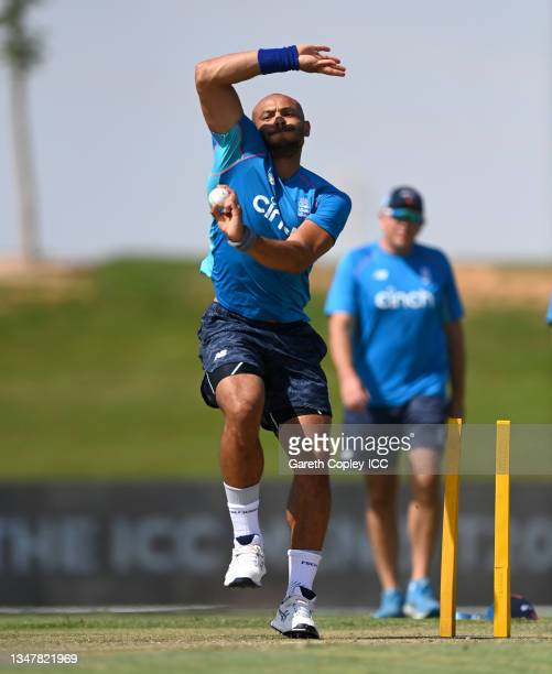 Tymal Mills of England warms up ahead of the England and New Zealand warm Up Match prior to the ICC Men's T20 World Cup at on October 20, 2021 in Abu...