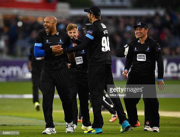Tymal Mills of Sussex celebrates with team mates after bowling Chris Gayle of Somerset for 5 during the NatWest T20 Blast between Sussex and Somerset...